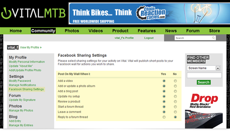 Facebook Share Settings